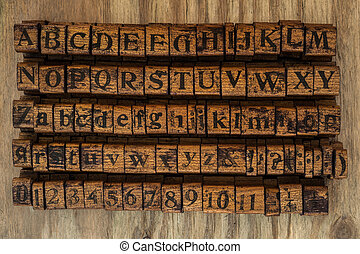 wood stamps alphabet and numbers