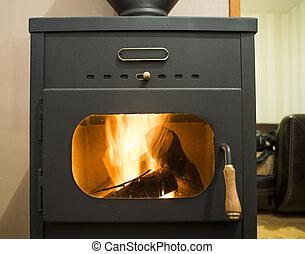 Wood stove and wood burning inside