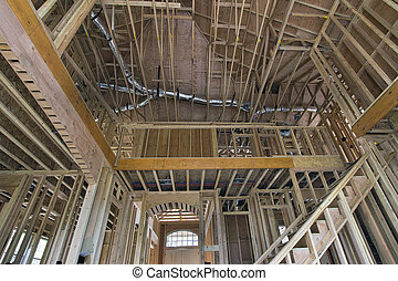 Wood Studs Framing for Two-Storey Home