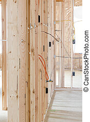 Wood studs the foundation of a new home