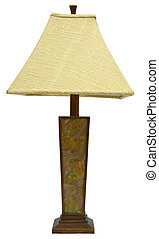 Table Lamp - Wood Table Lamp with Floral Design and Tweed ...