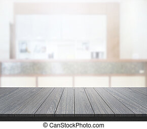 Wood Table Of Blur Background in Office