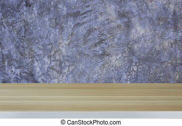 Wood table on cement wall background