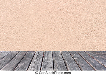 wood table on pink wall concrete background