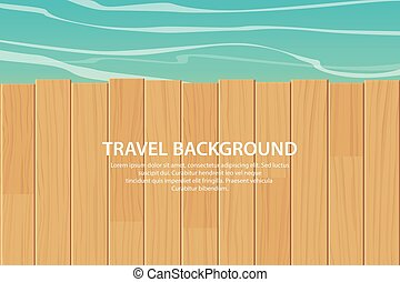 wood table top on blue sea background