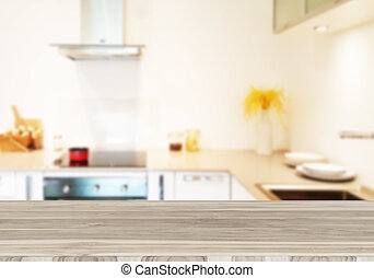kitchen - Wood table top on blur the background of the ...