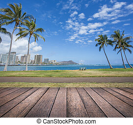 Wood table with Diamond head mountain background, Honolulu Hawaii
