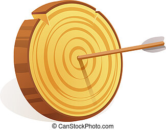 Wood target icon, cartoon style