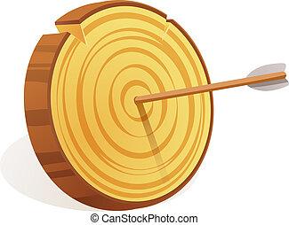 Wood target icon, cartoon style