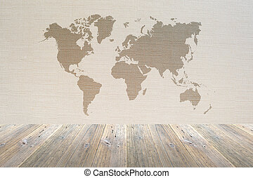 Wood terrace and Wallpaper interior with world map