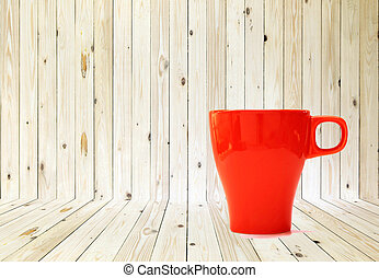 Wood texture background and cup of tea