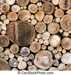 Wood texture background have many logs that cuted from big tree and small tree