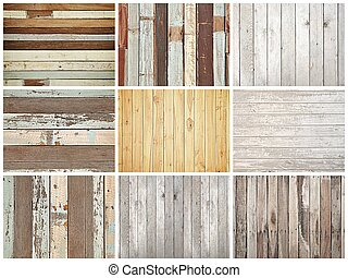 Wood texture background set