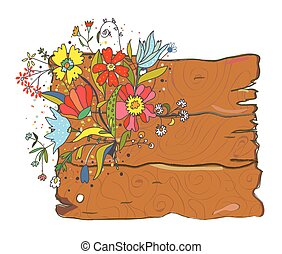 Wood texture background with flowers