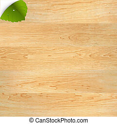 Wood Texture With Green Leaf