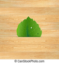 Wood Texture With Leaf
