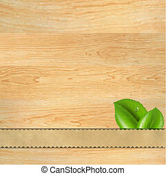 Wood Texture With Ribbon And Leaf