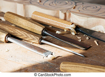 Wood tools - Some tools for wood used by carpenter