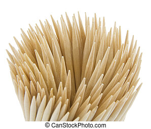 Wood toothpicks isolated on a white background