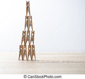wood tower cloth clamp on the table with background