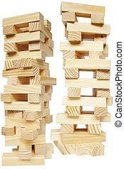 Wood Tower - Isolated tower of wooden blocks