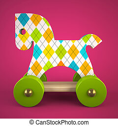 wood toy horse on purple background