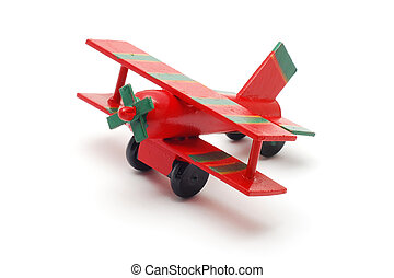 toy plane - wood toy plane isolated on white