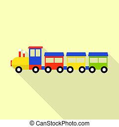 Wood toy train icon, flat style