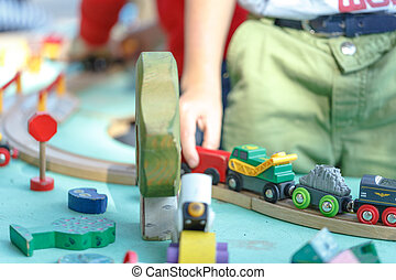wood toy train set