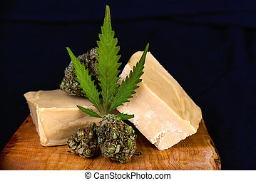 Wood tray with Cannabis infused fudge - medical marijuana ...