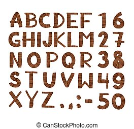 Wood tree texture font. Alphabet, vector