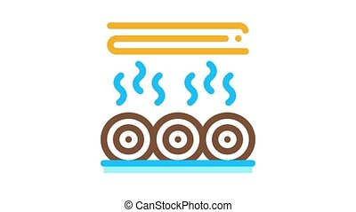 wood trunk drying Icon Animation. color wood trunk drying animated icon on white background
