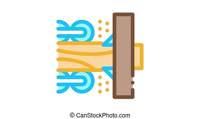 wood trunk grinding Icon Animation. color wood trunk grinding animated icon on white background