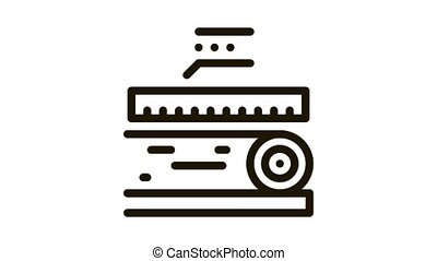 wood trunk size Icon Animation. black wood trunk size animated icon on white background