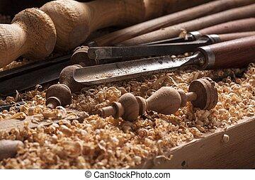 wood turning shavings