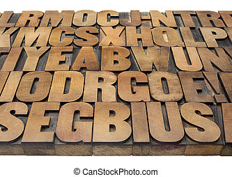 Wood type alphabet abstract
