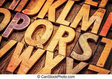 wood type alphabet abstract