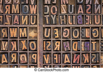wood type printing blocks background