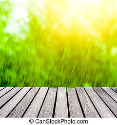 wood walkway and rain background