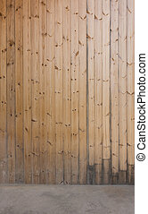 Wood wall and concrete floor