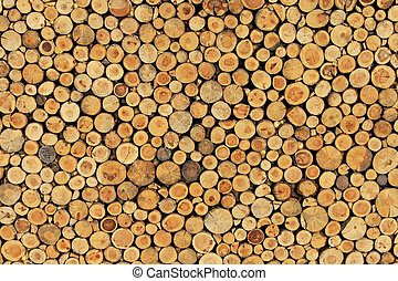 Wood wall - Big wall made from brown log wood