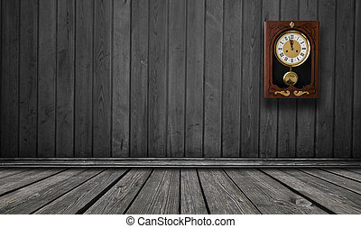 wood wall with a clock showing the time is five minutes to twelve