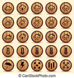 Wood Weather Icons in Brown Background