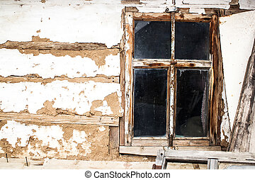 Wood window of the old house