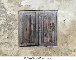 wood window on old wall background