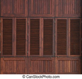 Wood window on wooden wall