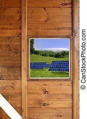 wood window solar plates meadow view
