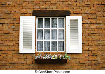 wood window with brick block