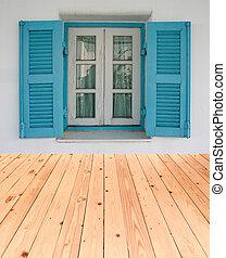 wood window with wood floor