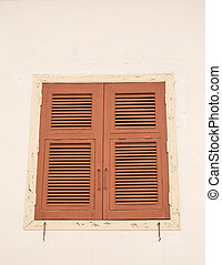 Wood windows on the white wall